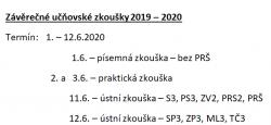 Organizace závěrečných zkoušek pro školní rok 2019/2020